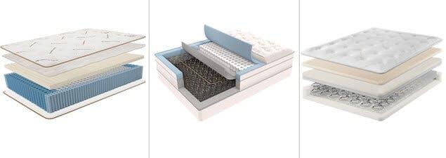 image of saatva latex hybrid, saatva classic, and saatva hd hybrid mattreses