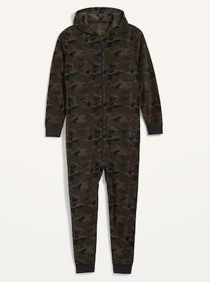 Old Navy Patterned Micro Performance Fleece One-Piece Pajamas