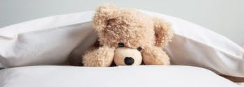 image of teddy bear on bed under pillow