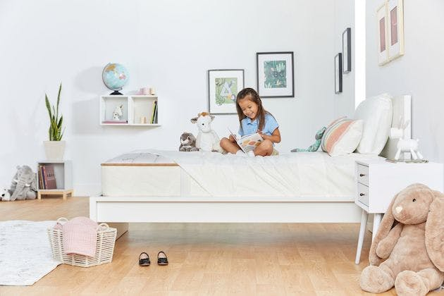 image of child in twin size mattress bedroom