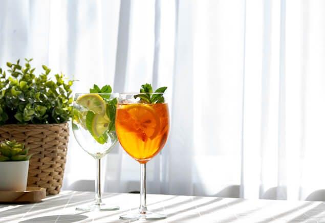 sleep myths - two cocktails on table inside home