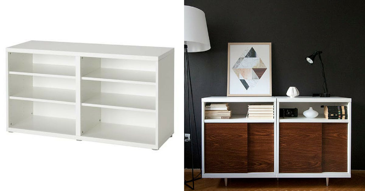 Besta Cabinet - Gold shelves Ikea modding