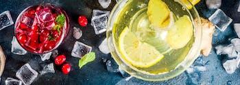 different cocktails against black backdrop