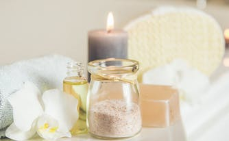 image of relaxing bath, as part of an at-home sleep retreat