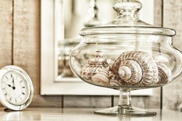 seashells in a jar in bedroom
