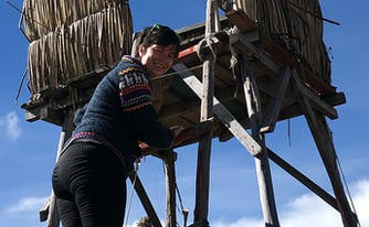 image of author mary kearl on las islas uros, peru