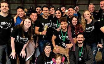 saatva team at startup games