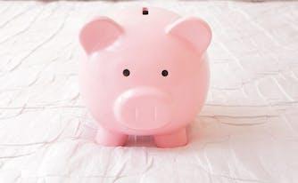 image of piggy bank on mattress