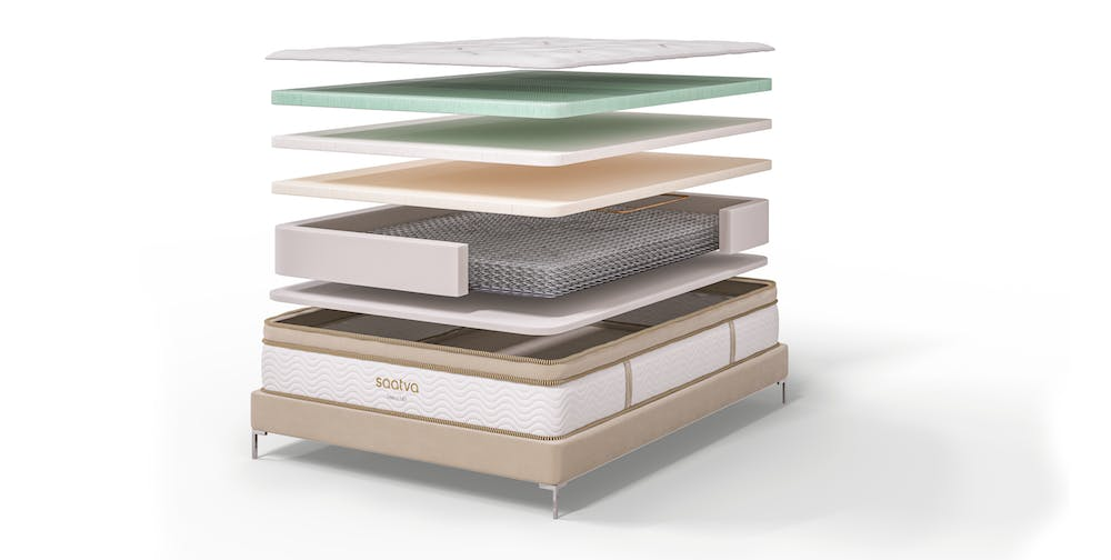diagram showing the layers inside the saatva hd heavy-duty mattress