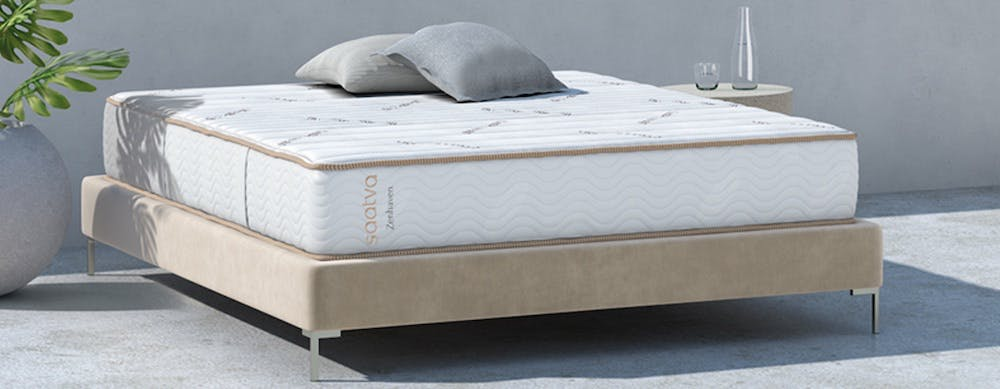 saatva latex mattress outside with table next do it