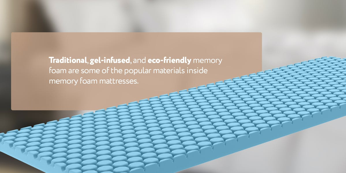 memory foam layer with description of the types of memory foam