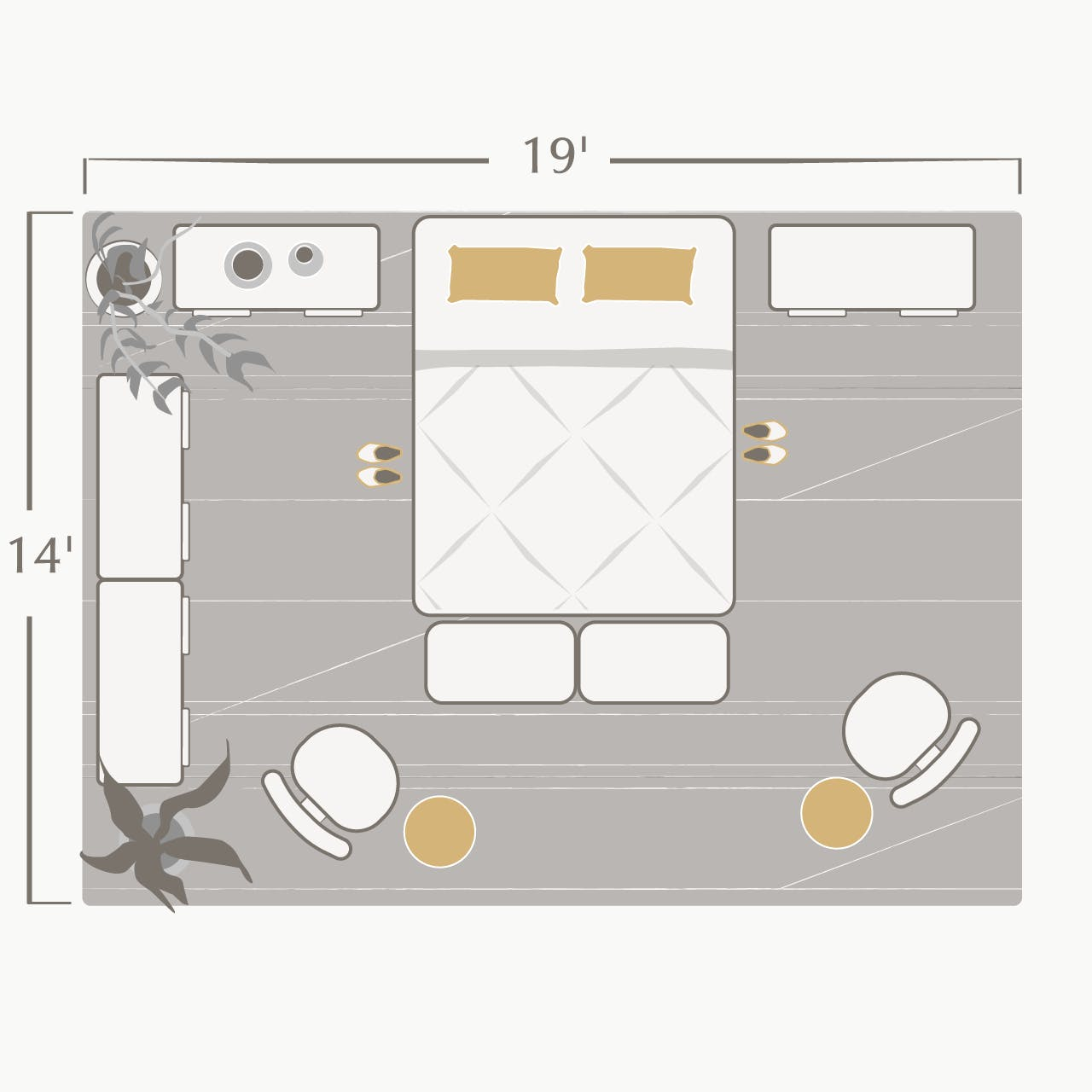 bedroom with king size bed in it and dimensions of room labeled with 19 feet wide by 14 feet long