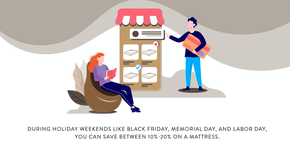 illustration showing the best times to buy a mattress, including major holiday weeekends