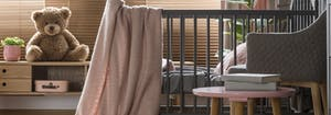 baby nursery with crib, blanket, and teddy bear