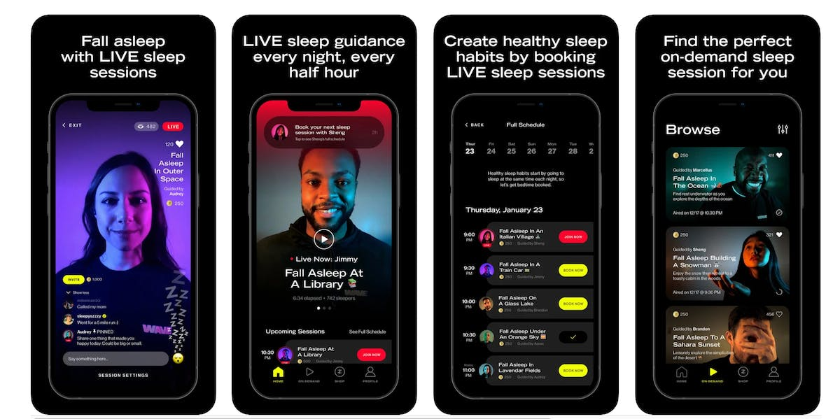 screenshots showing features of the wave app sleep