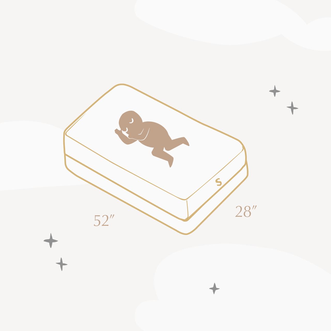 illustration showing crib mattress dimensions