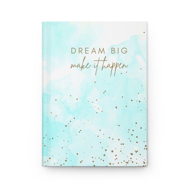 hardcover journal with the words