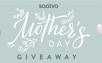 green background with hearts that says Saatva Mother's Day giveaway