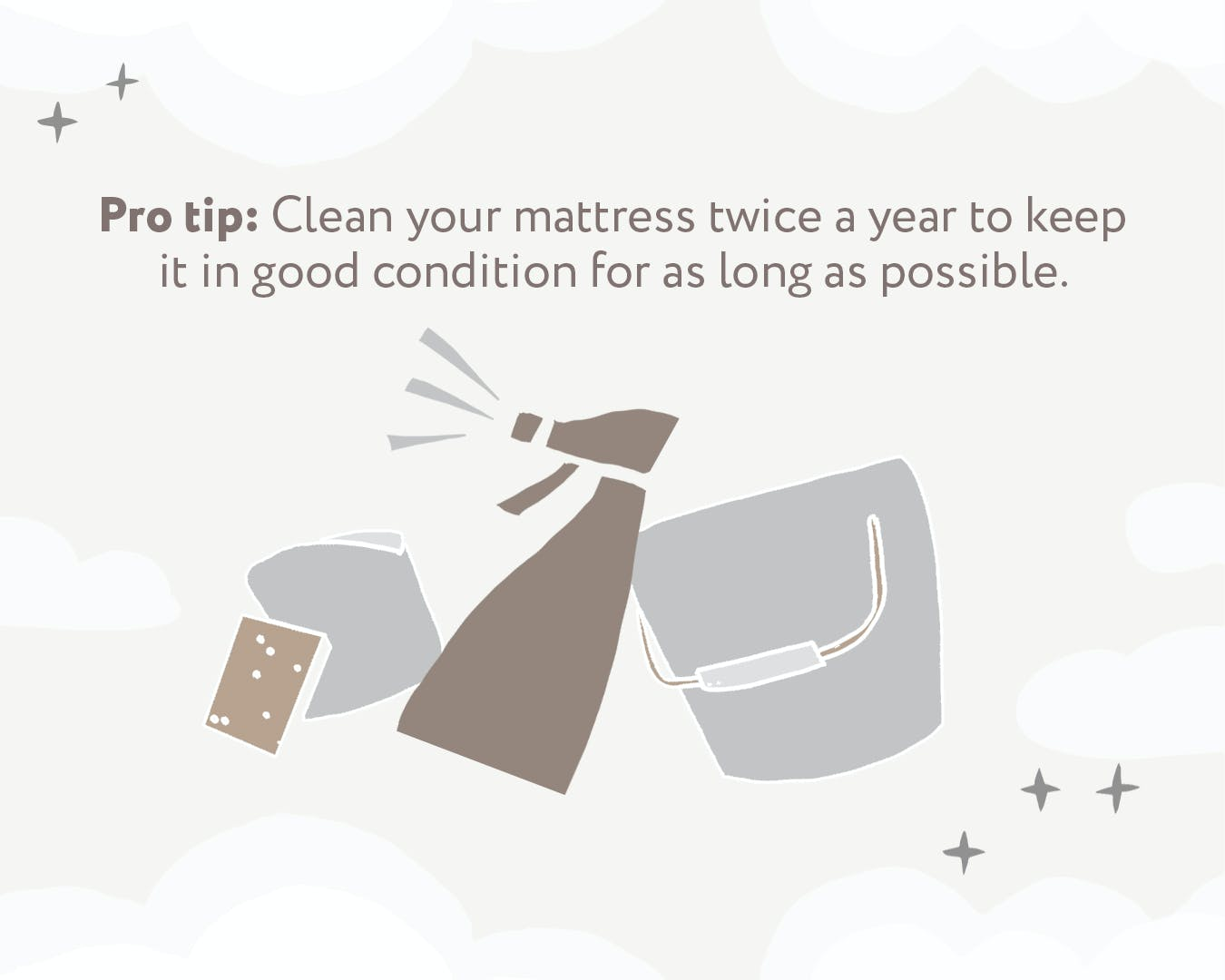 illustration showing how to clean a mattress