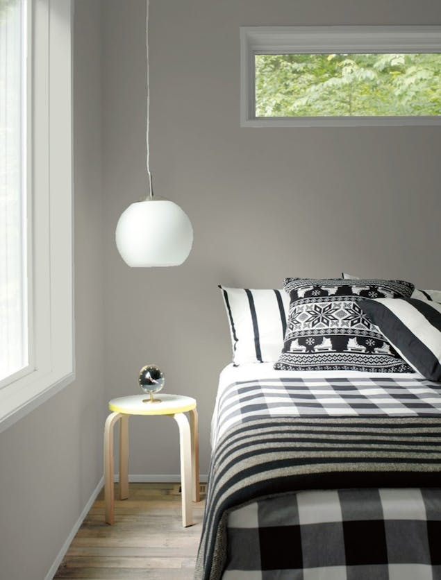 Chelsea Gray paint color seen on bedroom wall