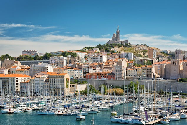 View of Marseille, France with boats in the water