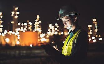 construction shift worker doing job at night