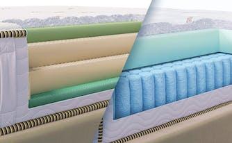 latex vs hybrid - image of zenhaven and saatva latex hybrid mattresses