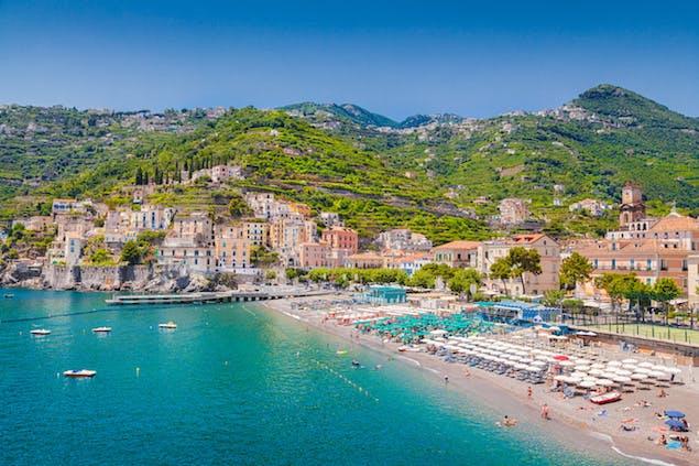 View of Minori, a seaside town on the Amalfi Coast