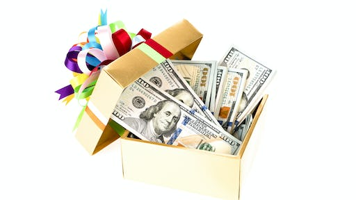 Hundred dollar bills in a decorated gift box <a href=