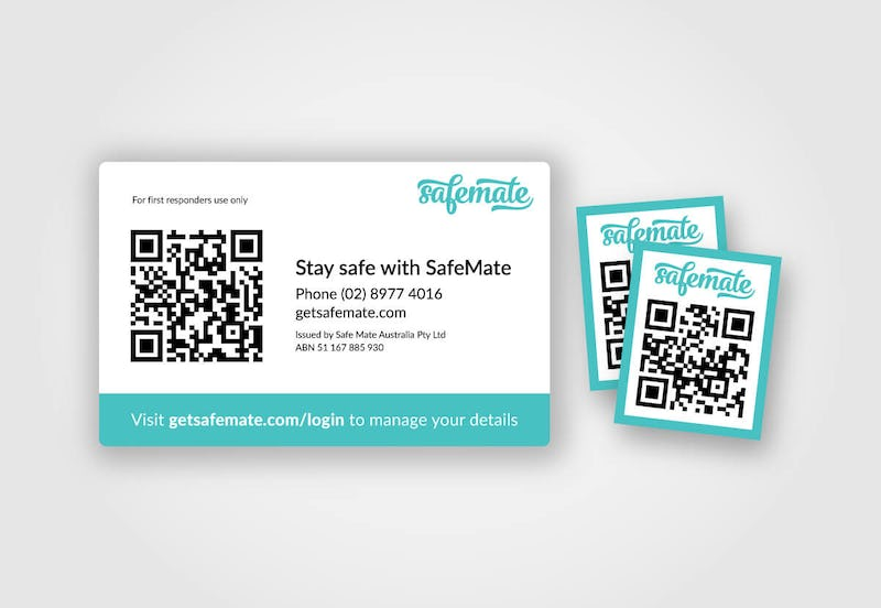 Get SafeMate - ID card and sticker kit