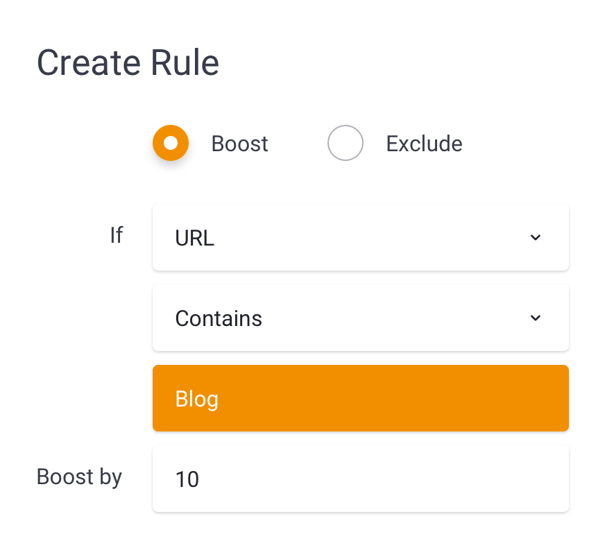 illustration of creating a boost rule in sajari