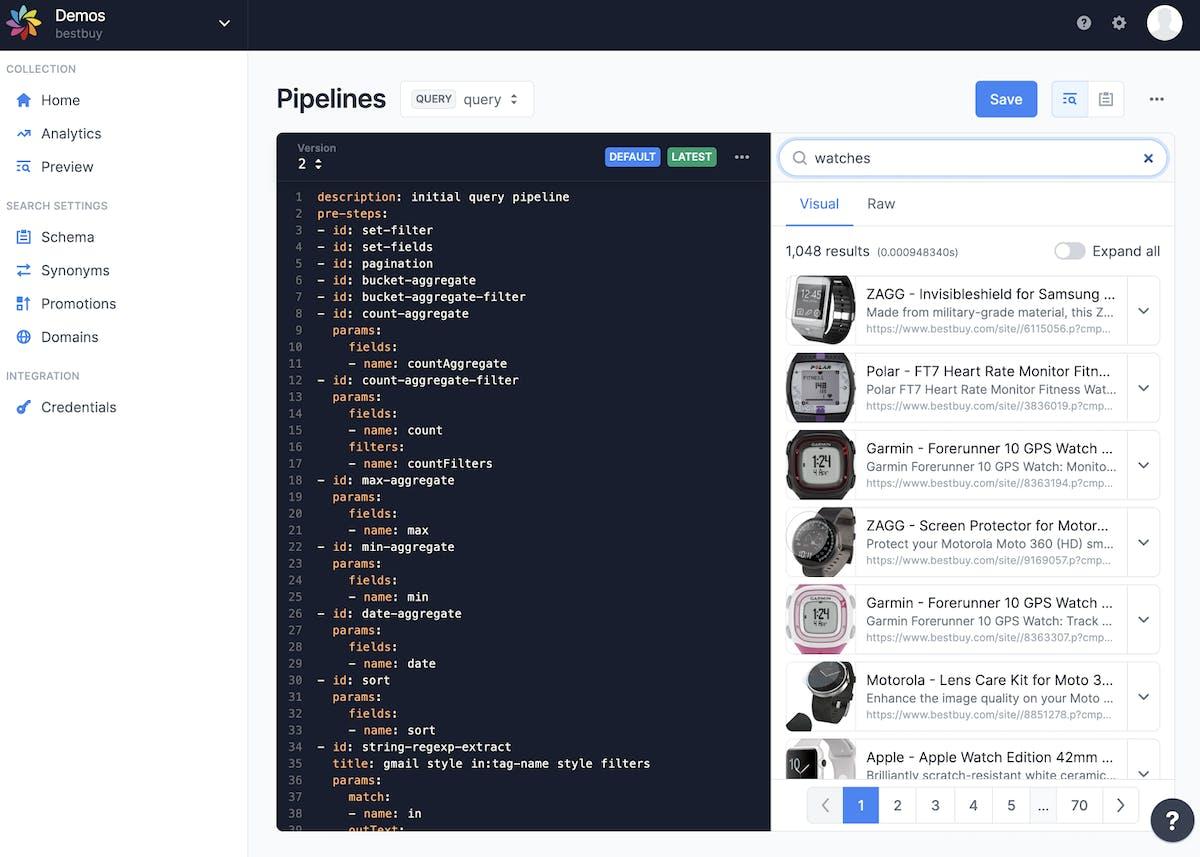 Editing a Sajari search pipeline