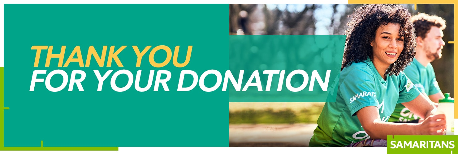 Thank you for your donation banner featuring a Samarathon runner looking at the camera