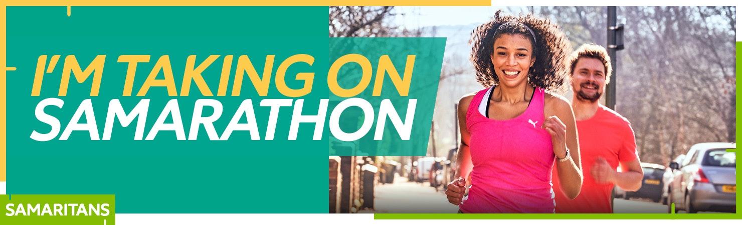 Fundraising page banner: I'm taking on Samarathon
