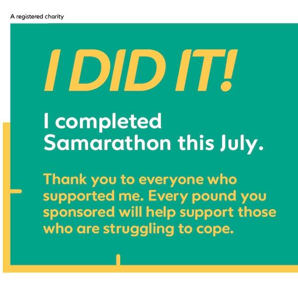 I did it! Samarathon Facebook image
