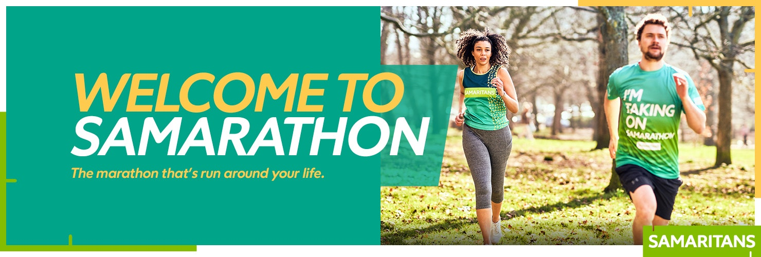 Samarathon banner image 'welcome to Samarathon' with a man and a woman running
