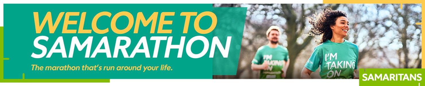 Samarathon banner image 'welcome to Samarathon' with a man and a woman running