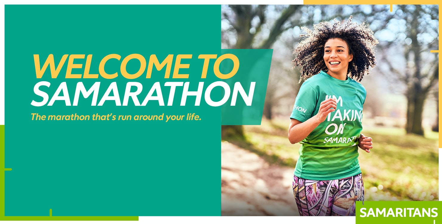 Welcome to Samarathon banner with image of a woman running outside