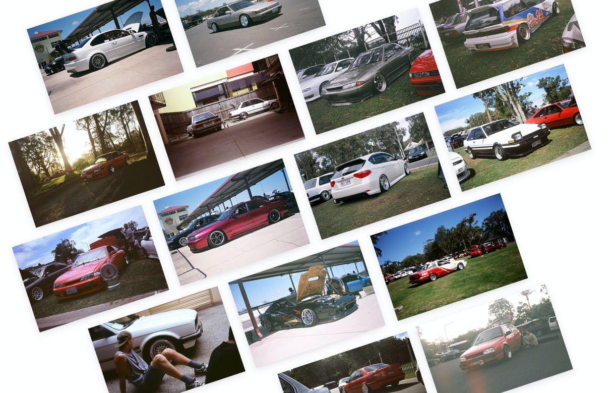 Various film photos of modified cars