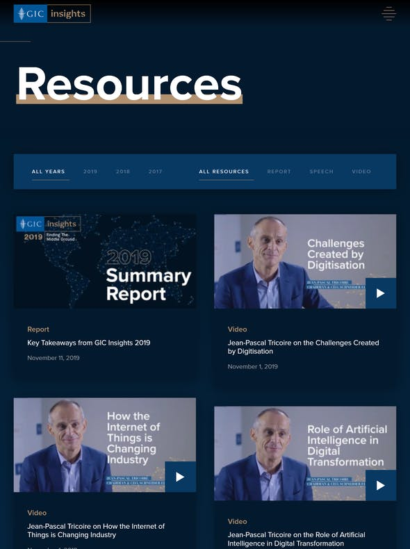 GIC Insights website resources page screenshot