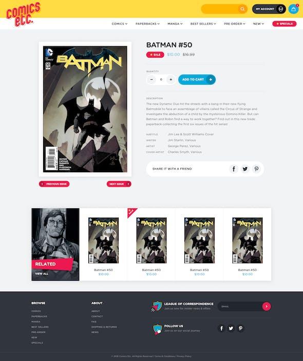 Comics Etc. product page mockup