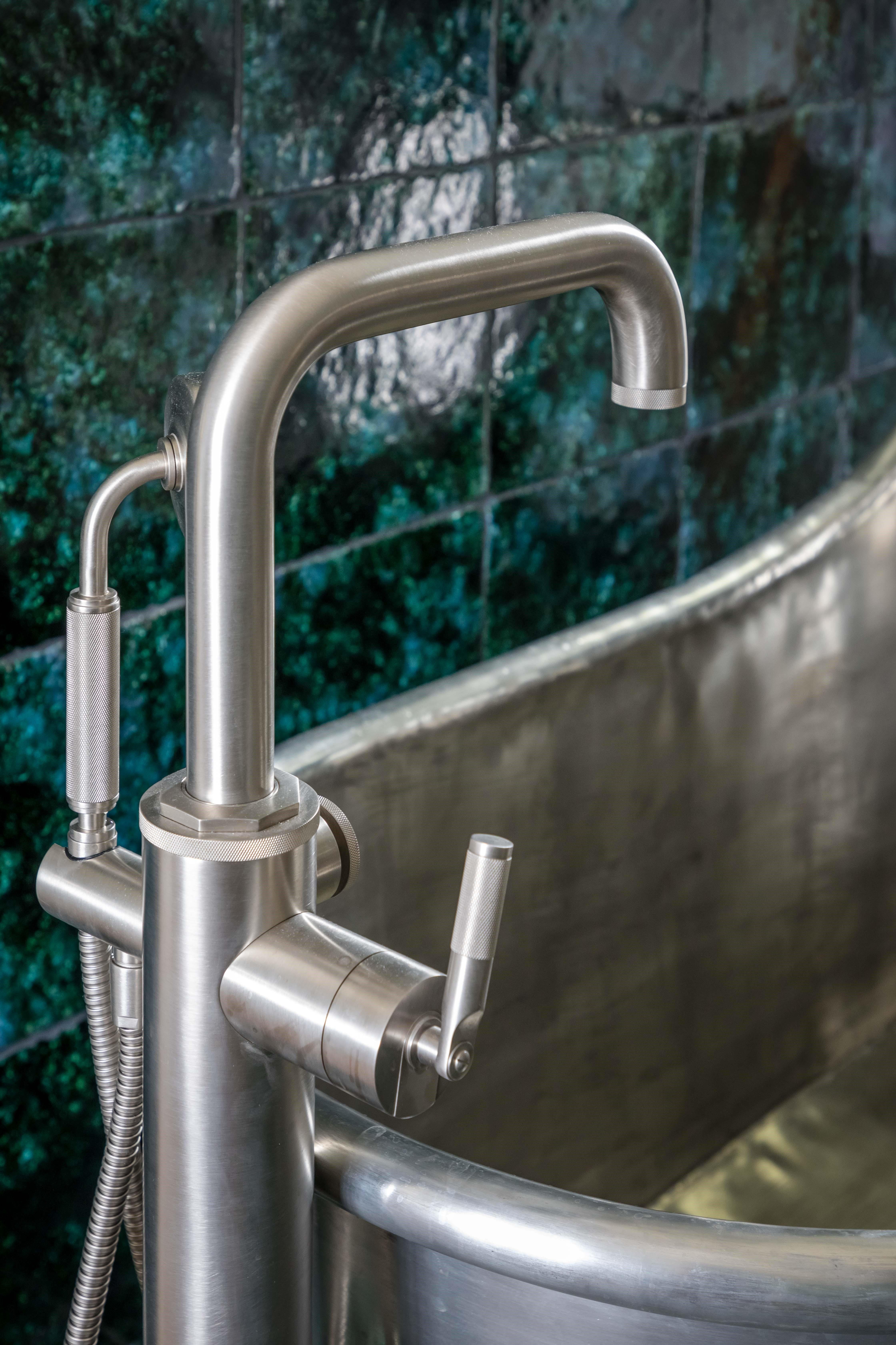 Samuel Heath Landmark Industrial brassware. Freestanding bath shower filler in a brushed nickel finish.