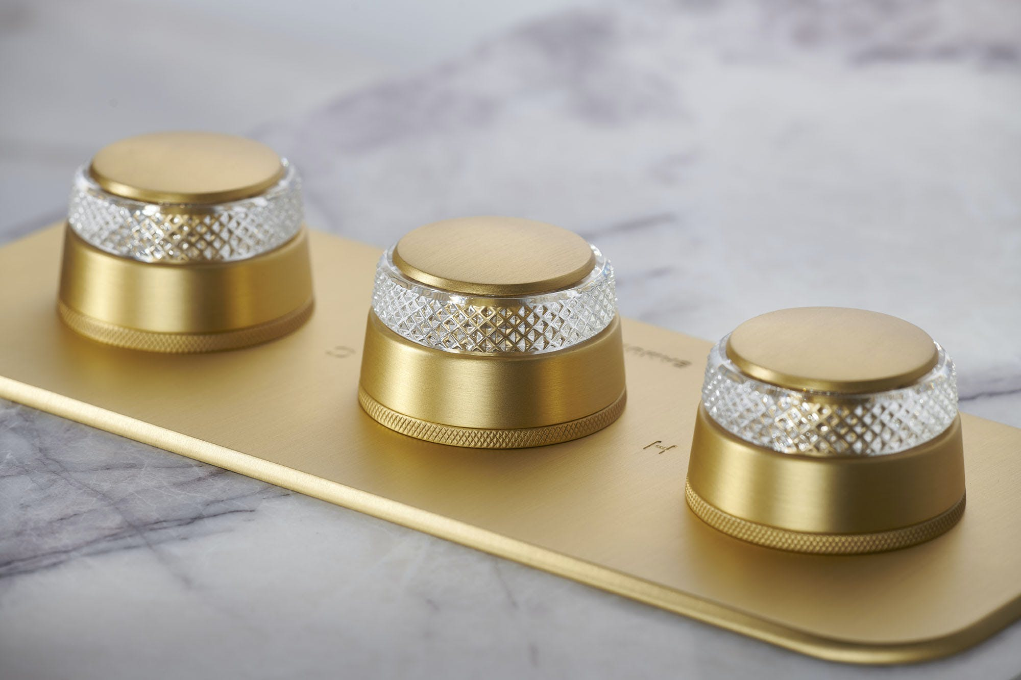 Samuel Heath One Hundred collection shower. Brushed gold finish with clear crystal roundels.