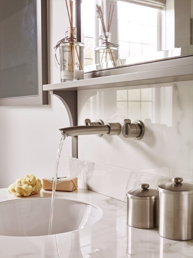 Samuel Heath wall mounted contemporary wall mounted brass tap. Xenon collection in a brushed nickel / stainless steel finish.