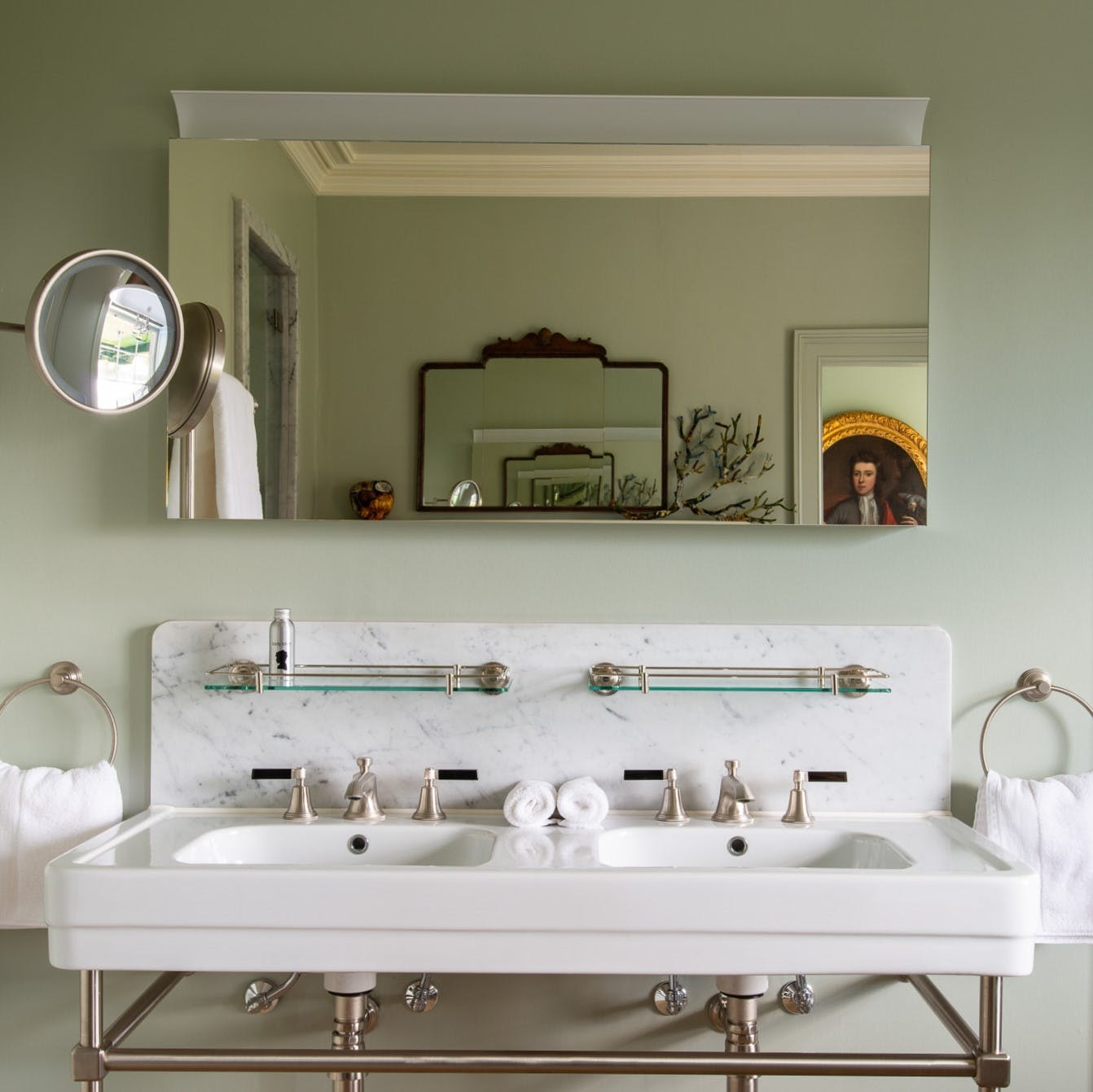 Samuel Heath art deco inspired taps. Style Moderne in a brushed nickel finish with black levers.