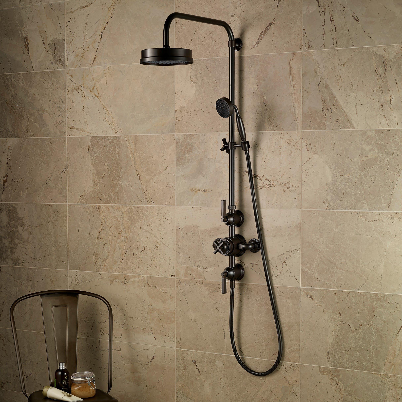 Samuel Heath Style Moderne art deco exposed shower in a bronze finish