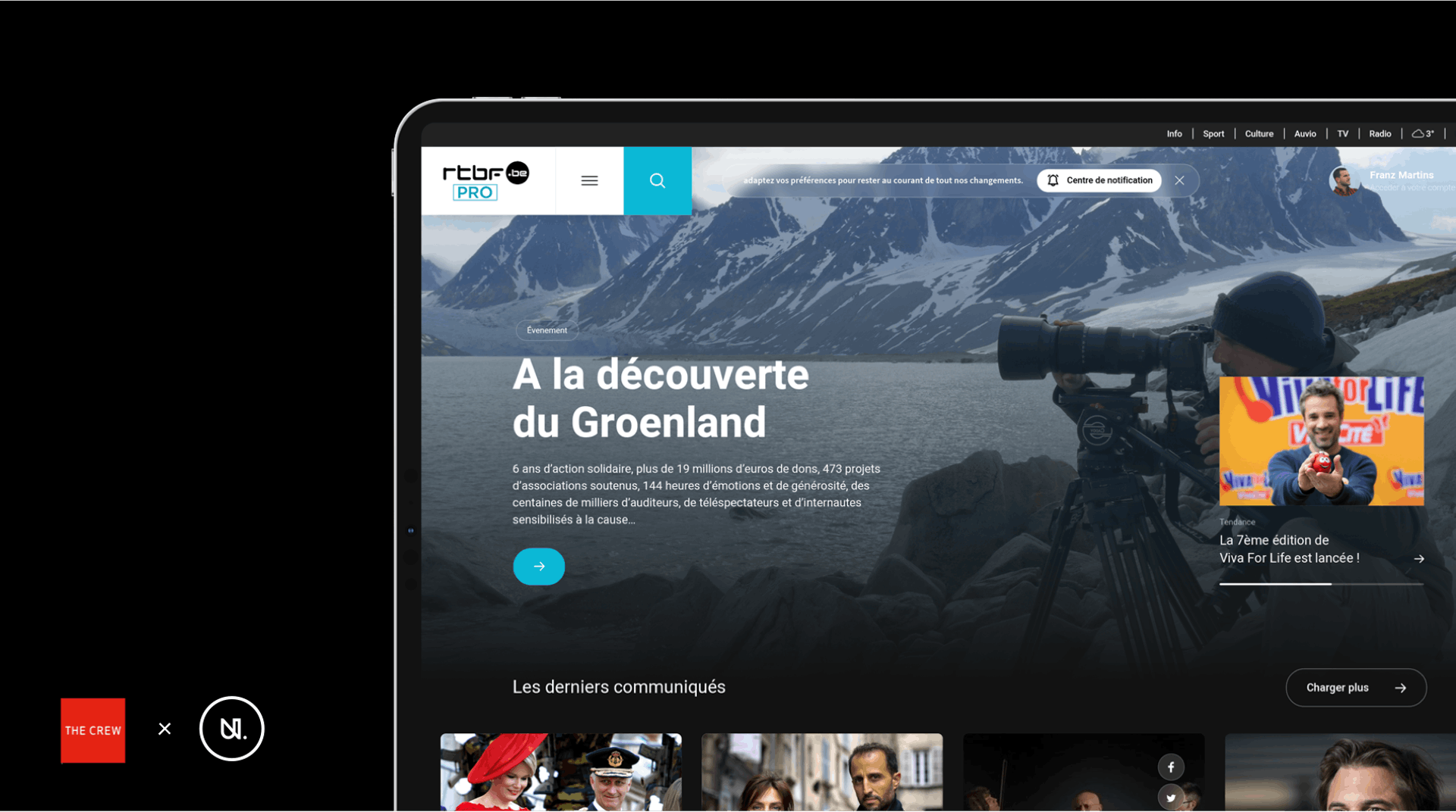 Optimised experience for RTBF Pro