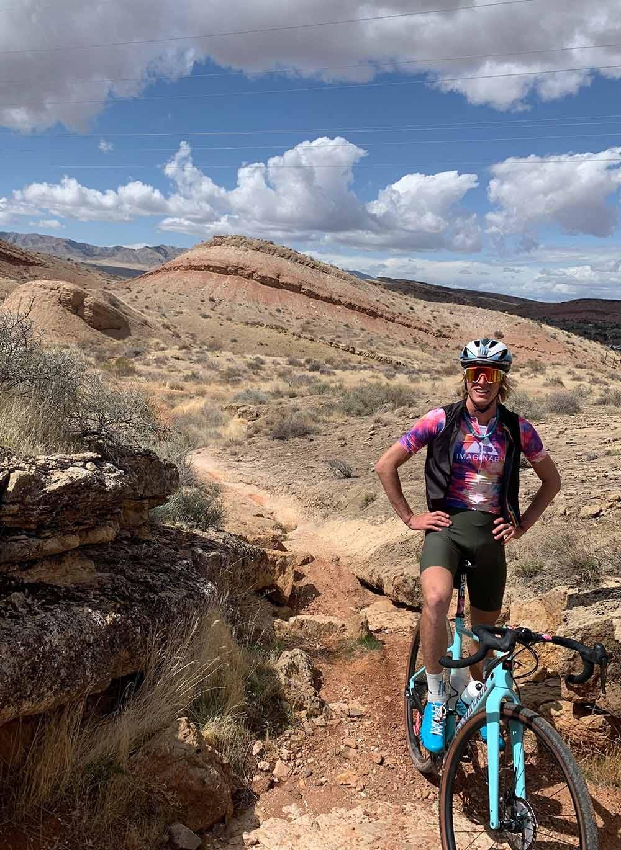 TJ Eisenhart on his gravel bike in the desert