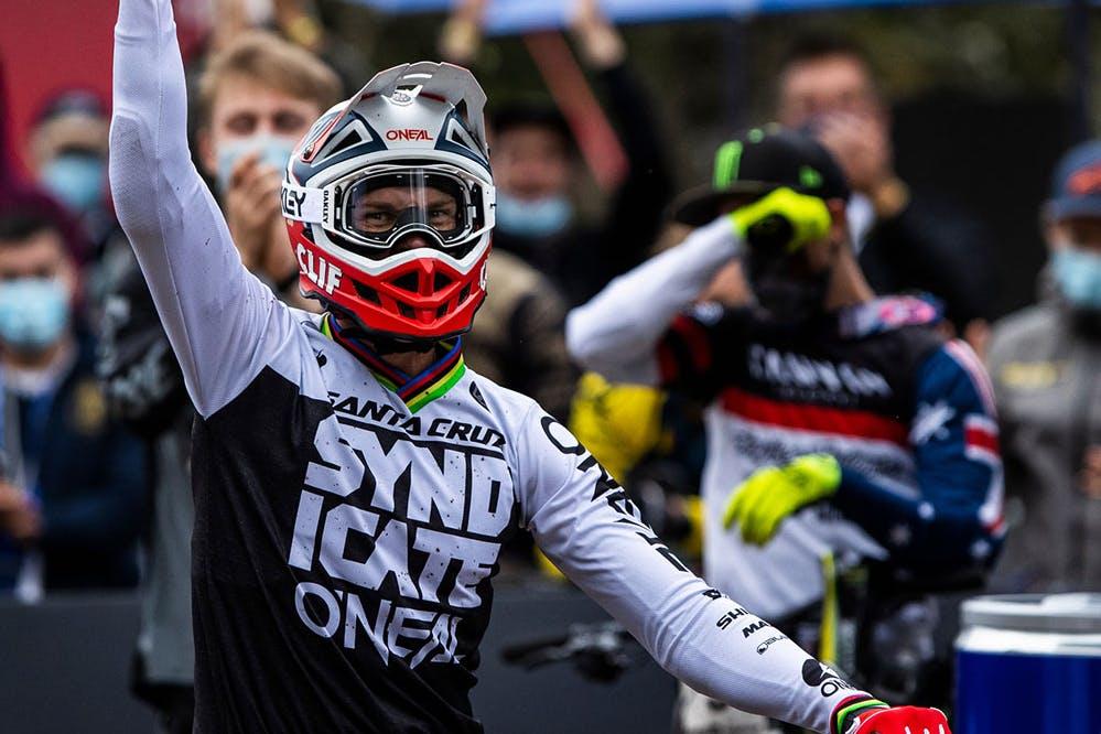 Greg Minnaar wearing Santa Cruz Syndicate race jersey