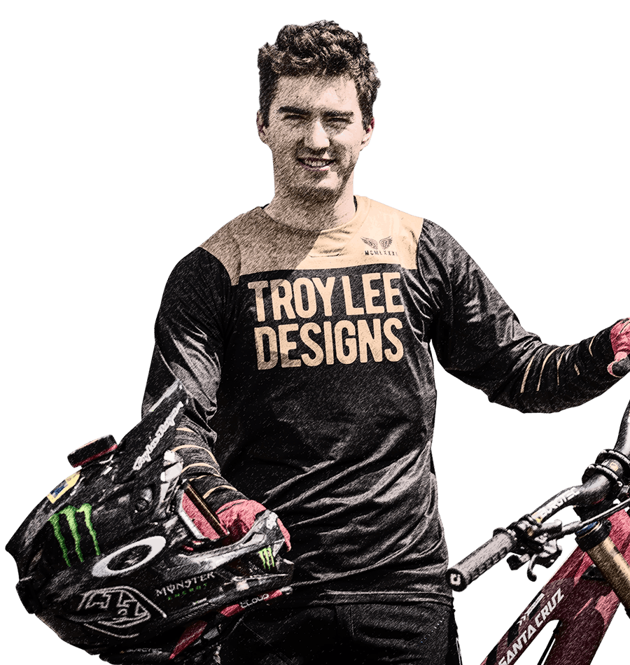 Portrait of Syndicate World Cup downhill rider Luca Shaw